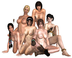 3d 6girls all_fours ankle_bracelet anna_williams areola areolae arms_at_sides black_hair blonde_hair blue_eyes bob_cut boots bracelet braided braided_ponytail braided_twintails braids breasts brown_boots brown_eyes brown_gloves brown_hair covering_breasts dejavue89 earrings erect_nipples feathered_headband feathers hand_on_knee hands_on_thighs hazel_eyes headband indian_style jewelry julia_chang kazama_jun legs long_hair medium_breasts michelle_chang mother_and_daughter namco navel nina_williams nipples nude nude_filter on_all_fours ponytail short_hair sisters sitting sitting_down smile stomach tekken tekken_tag_tournament_2 thighlet thighs white_background zafina