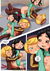 black_hair blonde_hair breast_grab female hair_curl male palcomix penetration rancis_fluggerbutter straight tagme vanellope_von_schweetz wreck-it_ralph