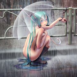 aqua_hair blush boots cuffs handcuffs hatsune_miku knee_boots long_hair looking_at_viewer nail_polish nude purple_eyes rain rubber_boots solo squatting twintails umbrella very_long_hair vocaloid wokada