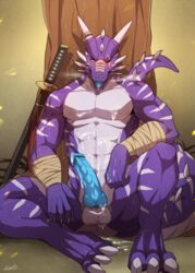 abs after_sex afterglow animal_genitalia anthro balls biceps big_penis blush claws cum cum_on_self dragon erection katana knot looking_at_viewer male masculine messy muscles nude open_mouth penis rabbity raventhan reptile scalie solo spent sword tongue warrior weapon western western_dragon white_stripes