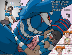 2015 abs ambiguous_gender animal_genitalia anthro ass balls battle biceps big_penis blue_skin blush bottomless cetacean clothed clothing cum cutaway dripping duo_focus english_text erection female group hair half-dressed hug human humanoid interspecies kasumi_(pokemon) kyogre legendary_pokémon legwear licking looking_down lying male mammal marine muscles navel nintendo nude open_mouth orange_hair pants pecs penis pokéball poképhilia pokemon precum pussy rastaban sex shadow size_difference spread_legs spreading standing stockings straight sweat tan_skin tattoo team_aqua teeth text togepi tongue tongue_out vein veiny_penis video_games whale yellow_eyes