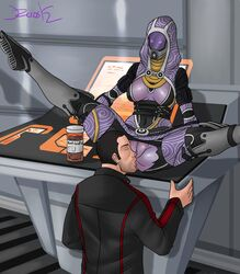 2_toes 3_fingers 5_fingers alien anal anal_sex antibiotics big_breasts breasts clothing digital_media_(artwork) drugs duo female licking male mask mass_effect oral penetration pussy quarian rimming sex straight tali'zorah_nar_rayya toes tongue tongue_out torn_clothing
