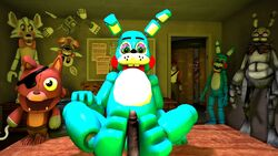 anthro blue_hair blush bonnie_(fnaf) canine drawkill faceless_male first_person_view five_nights_at_freddy's five_nights_at_freddy's_2 foot_fetish footjob foxy_(fnaf) fur gay group hair hindpaw lagomorph male mammal mangle_(fnaf) paws penis rabbit scout sex smile team_fortress_2 toy toy_bonnie_(fnaf)