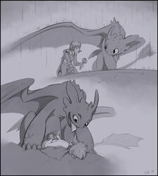 anal animal_genitalia dragon duo feral gay hiccup_(httyd) how_to_train_your_dragon human interspecies looking_down male mammal masturbation monochrome penis raining scalie sex slate tongue tongue_out toothless zoophilia
