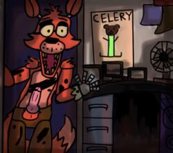 animatronic anthro balls bear black_nose canine clothing damaged erection eye_patch eyewear fan five_nights_at_freddy's fox foxy_(fnaf) freckles inside knot machine male mammal mechanical open_mouth penis pillswithbills pink_penis poster red_body robot sharp_teeth solo tears teeth yellow_eyes