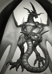 2014 abs anthro ass bahamut balls biceps big_penis claws digitigrade dragon erection eyeless final_fantasy final_fantasy_ix horn klongi male monochrome muscles nude open_mouth pecs penis plain_background scalie solo video_games western_dragon wings
