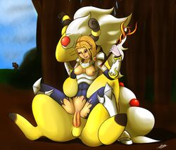 ampharos armor blue_eyes breasts clothing cum drooling duo_focus female feral group human human_on_feral interspecies league_of_legends lux male mammal mega_ampharos mega_evolution nintendo penetration penis poképhilia pokemon public saliva size_difference straight synad torn_clothing vaginal_penetration video_games zoophilia