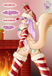 anal anal_sex anatomically_correct anatomically_correct_pussy animal_genitalia anus ass breasts candy_cane canine_pussy christmas dialogue female gloves hair hat holidays legwear llmixll long_hair nipples nude penetration pussy shizuka solo spanish_text stockings text unseen_character