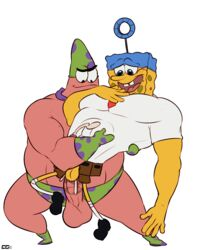 2boys abs anal anal_sex anthro balls bara biceps big_balls clothed clothing crazedg cum cum_in_ass cum_inside erection fish footwear furry gay half-dressed hat headgear invincibubble looking_down male manly marine musclegut muscles nickelodeon open_mouth orgasm pants patrick_star pecs penetration penis sex shirt shoes smile sponge sponge_out_of_water spongebob spongebob_squarepants standing starfish super_star transparent_background underwear yaoi