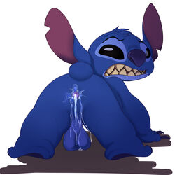 after_sex alien all_fours anus ass backsack balls big_ears clenched_teeth cum cum_drip cum_inside cum_on_balls disney dripping experiment_(species) furry_only hanging_balls jerseydevil leaking lilo_&_stitch lilo_and_stitch looking_at_viewer looking_back male plain_background rear_view solo stitch teeth white_background