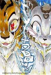 2014 anthro better_late_than_never big_breasts blue_eyes breasts cleavage clothed clothing comic cum cum_on_breasts cum_on_face daigaijin feline female fur kung_fu_panda mammal master_tigress messy open_mouth orange_fur red_eyes tiger white_fur