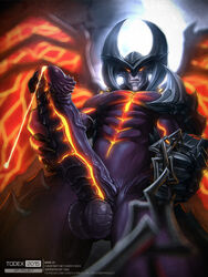 1boy aatrox abs anthro balls chain claws close-up cum cum_on_penis cum_string demon erection glowing_eyes league_of_legends looking_at_viewer looking_down male manly masturbation navel nude orgasm pecs penis sharp_claws solo squint standing todex unusual_penis veiny_penis video_games wings