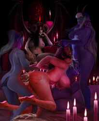 4girls after_sex anal ariana big_ass big_breasts big_penis black_eyes black_hair black_sclera blue_eyes candle candles cum cum_drip cum_explosion cum_in_anus cum_in_ass cum_in_mouth cum_in_pussy cum_in_vagina cum_inside cum_on_feet cum_on_foot cum_on_penis cum_overflow demon demoness demons dickgirl doggy doggy_style ear_piercing earring earrings fellatio female forced futa_on_futa futanari horns horsecock illiara intersex large_breasts large_penis light_skin naked nude oral original_character panties penis pointy_ears purple_hair purple_skin quenthala red_eyes red_skin restrained shemale sitting sitting_down smile smiling spank spitroast succubus testicles thekite throne uncensored watching wet white_hair wings