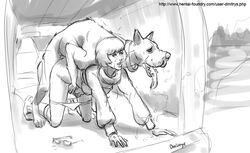 breasts canine canine collar dmitrys duo female feral human interspecies lips male mammal monochrome scooby-doo scooby-doo_(series) tears velma_dinkley zoophilia
