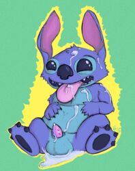 2015 after_orgasm alien balls barbs cum cum_in_mouth cum_inside cum_on_chest cum_on_face cum_on_ground cum_on_self digital_media_(artwork) disney erection hauntzor lilo_and_stitch male open_mouth penis sheath signature sitting small_penis smile solo stitch tongue tongue_out