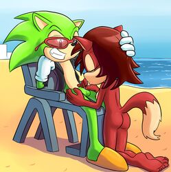 anthro ass breasts canine duo fellatio female fiona_fox fox goshaag grin hedgehog male mammal nude oral penis scourge_the_hedgehog sega sex sonic_(series) straight sucking