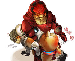 alien ass balls clothing crying daire301 duo erection gay grunt_(mass_effect) humanoid_penis krogan male mass_effect penis precum spanking tears underwear urdnot_wrex video_games