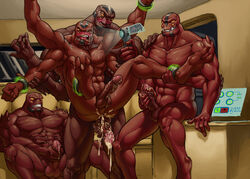 alien anal anal_sex balls being_watched ben_10 beralin camera cum cum_in_ass cum_inside four_arms_(ben_10) gay group humanoid male masturbation multi_limb multiple_arms penetration penis