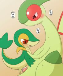 2014 animated blush cum duo erection female feral feral_on_feral flygon green_body green_skin japanese_text male nintendo nude open_mouth penetration penis plain_background pokemon red_eyes reptile scalie sex size_difference snivy straight text translation_request video_games wings ぃろすずめ
