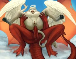 2014 anal anal_sex angel anthro avian breasts claws cloud demon dragon duo erection feathers female fur gryphon halo herm herm_on_female intersex intersex_on_female interspecies lying mammal mythical nipples nude paws penetration penis pussy scales sex sky surprise theowlette wings