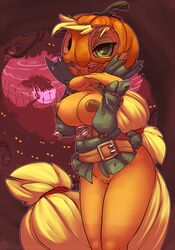 2014 anthro anthrofied applejack_(mlp) areola atryl belt blonde_hair bottomless breasts clothed clothing digital_media_(artwork) earth_pony equine female friendship_is_magic green_eyes hair half-dressed hi_res horse long_hair mammal my_little_pony nipples pony pumpkin pussy standing tongue tongue_out