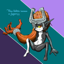 anthro dragonoscuro203 fangs female hair imp looking_at_viewer midna orange_hair ponytail prehensile_hair pussy red_eyes solo spanish_text text the_legend_of_zelda translated twilight_princess video_games yellow_sclera