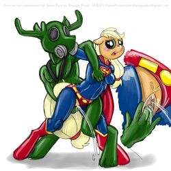 applejack_(mlp) cervine cosplay crossover duo fan_character female friendship_is_magic holding male mammal marine my_little_pony orgasm pussy pussy_ejaculation pussy_juice reindeer rubber sketch smudge_proof straight superman supermare wrestling