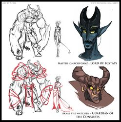 akkal atryl blue_scales clothed clothing demon digital_drawing_(artwork) digital_media_(artwork) duo ganz hi_res horn humanoid male male_only nude penis plain_background red_scales size_difference sketch white_background