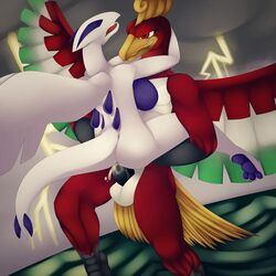 anthro anthrofied avian bird breasts cum duo female flight flying ho-oh lugia male nintendo penis phoenix pokemon popesslodovica reptile scalie sea sex side_boob stand_and_carry_position standing storm straight video_games water