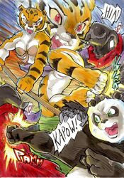 1girl 2014 2boys anthro bear better_late_than_never breasts cleavage clothed clothing comic daigaijin english_text feline female fight fur furry group kung_fu_panda male mammal master_tigress panda po polearm pussy staff straight text tiger