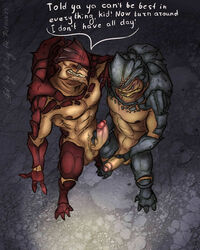 2014 4_balls abs alien anthro balls barefoot biceps big_penis bird's-eye_view blue_eyes blue_skin brown_skin claws comparing dialogue digitigrade duo english_text erection fangs gay glans grin grunt_(mass_effect) high-angle_shot holding_penis humanoid_penis krogan male mass_effect mickey_the_retriever multi_balls muscles nipples nude pecs penis red_eyes red_skin scales scalie slit_pupils teeth text toe_claws toned uncut urdnot_wrex vein video_games