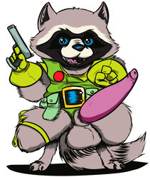 alien anthro balls erection guardians_of_the_galaxy looking_at_viewer male mammal marvel op2 penis raccoon rocket_raccoon solo
