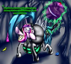 2014 absurd_res alicorn anal anal_insertion anal_sex anal_vore ass big_belly big_butt buttplug changeling da_goddamn_batguy dialogue duo english_text equine female feral friendship_is_magic fur glowing green_eyes hair hi_res horn huge_butt insertion inside levitation long_hair magic mammal multicolored_hair my_little_pony penetration pink_fur princess_cadance_(mlp) pussy queen_chrysalis_(mlp) sex_toy text tongue tongue_out vore wings yuri