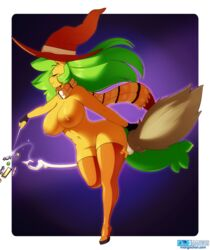 3mangos anthro big_breasts blush boots breasts broom closed_eyes ear_piercing equine female fingerless_gloves gloves green_hair hair hat horse legwear long_hair magic magic_user mammal navel nipples orange_nipples piercing pony pussy scarf sitting smile solo thick_thighs thigh_high_boots thigh_highs voluptuous witch yellow-skin