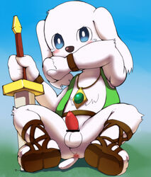 anthro balls canine dog doraemon erection fur furry hono-bu_bebe male mammal peko penis solo sword weapon