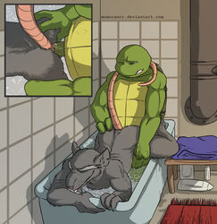 all_fours anal anal_sex ass balls bath closed_eyes doggy_style erection father father_and_son from_behind leonardo_(tmnt) male male/male mammal momorawrr nude one_eye_closed parent penetration penis rat rodent semi_incest sex son splinter teenage_mutant_ninja_turtles tongue water