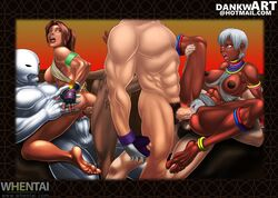 2boys 2girls abs anal anal_sex areola areolae arm_band armlet ass barefoot big_penis black_gloves blue_eyes bottomless bra bra_pulled_aside breasts brown_eyes brown_hair capcom christie_monteiro cowgirl_position crossover dankwart dark-skinned_female dark_skin double_penetration earring ebony elena elena_(street_fighter) endured_face erect_nipples feet fingerless_gloves from_behind gangbang gloves group_sex humanoid leg_band legs looking_back looking_over_shoulder lots_of_jewelry medium_breasts muscles muscular namco neck_ring nipples open_mouth orgy partially_clothed penis ponytail pubic_hair puffy_nipples pussy_juice raised_legs reverse_cowgirl saliva short_hair sideboob sitting six_pack spread_legs street_fighter street_fighter_x_tekken tekken thick_penis thigh_band thighs toned twelve vaginal_penetration vaginal_sex veiny_penis whentai white_body white_hair white_skin white_top wristband