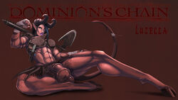 2015 abs animal_genitalia armor axe balls big_breasts big_penis blue_hair bottomless breasts clothed clothing demon dickgirl dominion's_chain dominions_chain flaccid futa_solo futanari half-dressed hooves horn horns horse_cock horsecock huge_penis intersex knife large_penis looking_at_viewer lucien luzella luzella_(lucien) muscles penis pinup red_skin shemale sitting sitting_down solo tail weapon white_eyes wraps