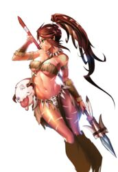 armband bandage brown_hair cleavage dark-skinned_female dark_skin green_eyes jewelry league_of_legends leg_warmers loincloth navel nidalee ponytail poro skiadrum-94 skull spear tongue tongue_out transparent_background tribal very_long_hair weapon