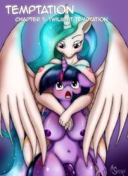 2015 alicorn anthro anthrofied areola big_breasts blush breasts cutie_mark dickgirl duo equine female friendship_is_magic glowing hair horn intersex long_hair looking_down looking_up mammal multicolored_hair my_little_pony navel nipples nude open_mouth penis princess_celestia_(mlp) purple_eyes suirano twilight_sparkle_(mlp) unicorn wings