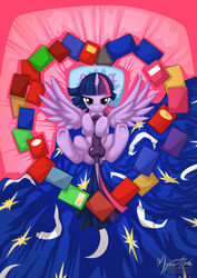 alicorn balls bed bedroom_eyes book equine feathers friendship_is_magic fur futanari hair heart hooves horn inside intersex long_hair looking_at_viewer lying mammal multicolored_hair my_little_pony mysticalpha on_back penis pillow presenting purple_eyes purple_fur purple_hair pussy pussy_juice smile solo twilight_sparkle_(mlp) wings