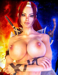 3d areola armlet bird breasts brown_eyes crossed_arms darvarq daz erect_nipples forest heavenly_sword highres huge_breasts looking_at_viewer nariko night nipples outdoors pose red_hair sky smile solo sony standing sword tiara topless tree