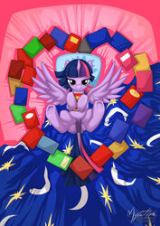 alicorn bed bedroom_eyes book clitoris equine feathers female friendship_is_magic fur hair heart hooves horn inside long_hair looking_at_viewer lying mammal my_little_pony mysticalpha on_back pillow presenting princess_twilight_sparkle_(mlp) purple_eyes purple_fur purple_hair pussy pussy_juice smile solo twilight_sparkle_(mlp) two_tone_hair wings