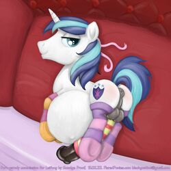 anus balls cock_sock friendship_is_magic hyper looking_at_viewer male male_pregnancy my_little_pony penis pregnant ribbons shining_armor_(mlp) smudge_proof socks solo