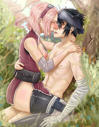 1boy black_hair blush breasts clothed_sex couple female human kissing love male naruto outdoors pink_hair riding sakura_haruno saliva_trail sasuke_uchiha sex short_hair straight yellowman