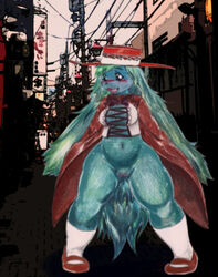 alucaje_(pixiv) big_breasts big_ears big_tail blush bottomless bow_tie breasts cloak clothed clothing corset exhibitionism female floppy_ears fluffy_tail half-dressed hat japanese_text lagomorph mammal open_mouth outside partially_clothed pussy shoes smile socks solo spread_legs spreading text thick_thighs tongue