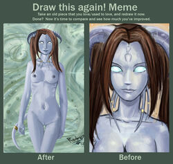 2012 absurd_res anthro blue_nipples breasts brown_hair comparison draenei draeni duo english_text female hair hi_res horn looking_at_viewer meme navel nipples nude pussy raptor007 realistic ring smile text thigh_gap video_games warcraft white_eyes