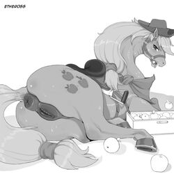 2014 anatomically_correct animal_genitalia anus applejack_(mlp) ass black_and_white blush equine equine_pussy etheross female feral friendship_is_magic hat horse looking_at_viewer lying mammal monochrome my_little_pony open_mouth plain_background pussy rear_view solo sweat white_background