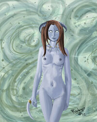 2012 absurd_res anthro blue_nipples breasts brown_hair draenei draeni female hair hi_res horn looking_at_viewer navel nipples nude pussy raptor007 realistic ring smile video_games warcraft white_eyes