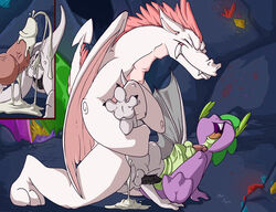 2015 anal anal_insertion anal_sex anal_vore anus balls cave closed_eyes cum cum_in_ass cum_inside dragon fangs fizzle_(mlp) friendship_is_magic fuf furry_only group insertion male my_little_pony open_mouth penetration penis scalie sex size_difference spike_(mlp) stomach_bulge tongue vein vore yaoi young